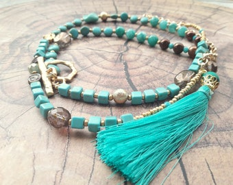 Turquoise tassel necklace, Long Tassel necklace, Long Turquoise Tassel Necklace, Turquoise Gold Necklace