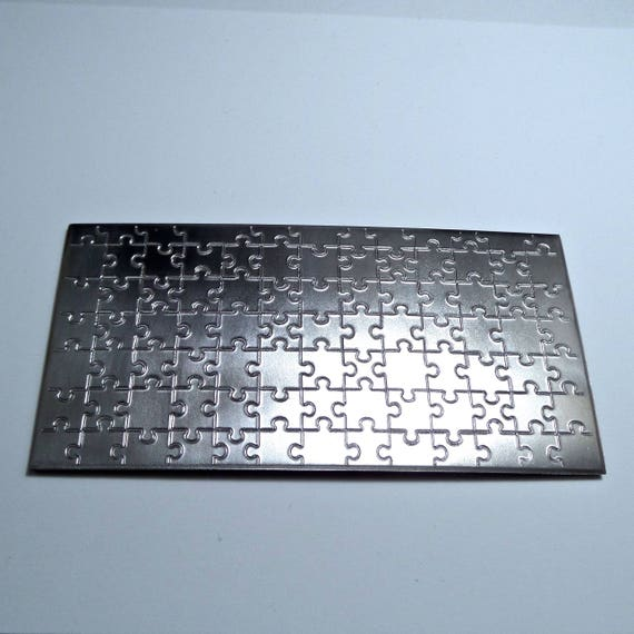 """Puzzle Rolling Mill Texture Embossing Plate 3"""" x 6"""" Steel Texture Plate for Rolling Mill or Hammering - Made in USA"""