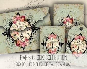 Paris Clock Envelopes, Tags & Cards - Digital Collage Sheet Download -1154 - Digital Paper - Instant Download Printables