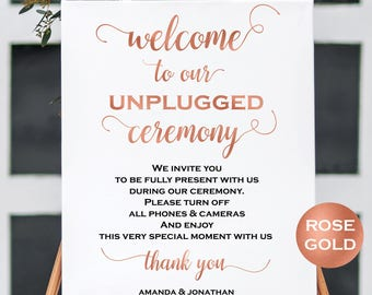 Welcome To Our Unplugged Wedding Sign - No Cell Phones Sign - Wedding Ceremony Sign - Rose Gold Wedding - Downloadable wedding #WDH24WTOUR