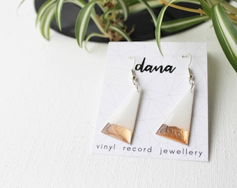 white and rose gold earrings modern earrings minimalist earrings geometric vinyl earrings hypoallergenic dangle earrings triangle earrings