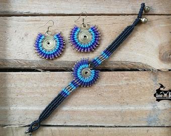 Handmade Wax Cord Bracelet Set Bohemian Braided Bracelet Set Drop Dangle Earrings for Women Purple Blue