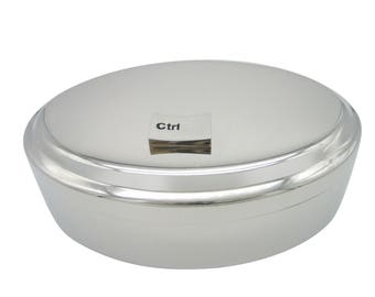 Ctrl Keyboard Pendant Oval Trinket Jewelry Box