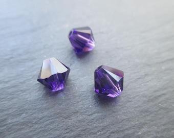 Bicone 4 mm: 8 beads purple vervet - dark purple Swarovski Crystal
