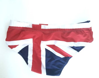 Vintage Moschino men briefs trunks with union flag or british flag - swimwear- moschino vintage- moschino rare - gift for him
