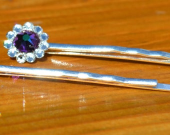 SWAROVSKI Crystal Silver Plated Hair Grips