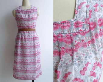 Vintage 80's 'Poppy Fields' Pink Square Neck Day Dress S or M