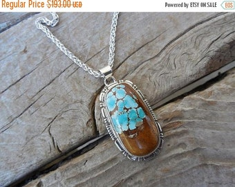 ON SALE Beautiful turquoise necklace handmade and sign in sterling silver 925 with a gorgeous turquoise stone from the Royston mine