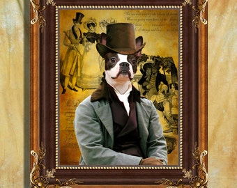 Boston Terrier  Art Print 11 x 14 inch original illustration artwork giclee archival premium poster print By Nobility Dogs
