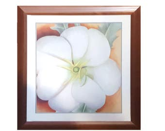 Okeeffe flower etsy botanical decorative art white flower by georgia o keeffe 31x35art print russet brown frame mightylinksfo