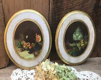 Florentine Still Life Plaques/Set of Two/Gold/Imports Unlimited/Made in Italy
