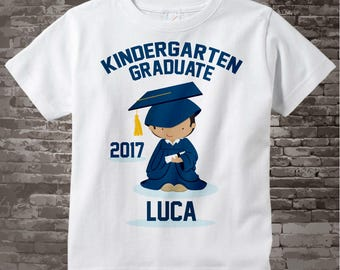 Personalized Kindergarten Graduate Shirt Kindergarten Graduation Shirt Child's Graduation Shirt Brown boy with Dark Brown Hair 05032017c