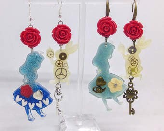 Alice in Wonderland resin earrings - Alice and the White Rabbit silhouettes with inclusion of metallic charms and red roses