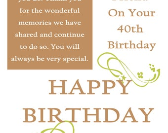 Friend 40 Birthday Card with removable laminate