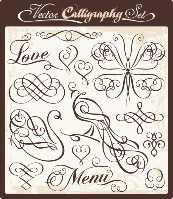 Vintage Ornamental Design Elements: 14 Calligraphy And Wedding Clipart Ornaments Scrolls Design