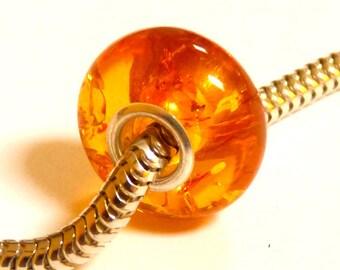Baltic Amber European Charm Bead Honey Sparkling