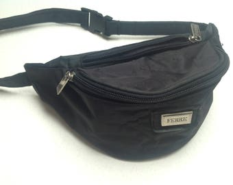 Vtg 90s FERRÈ Waist Hip Fanny Pack Black Very Stylish Sport Wear