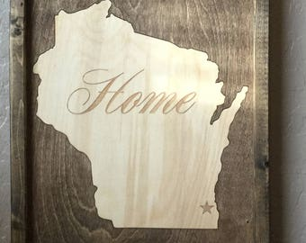 Customizable Wisconsin Home 11x14in  Wooden Inlay Wall Art