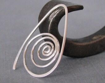 Sterling Silver Swirl Hoop Earrings, Spiral Sea Shells - Artisan Jewelry Handmade