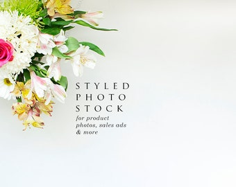 Pink Rose & Daisy Floral Styled Stock Photography, Product Mockup, Styled Background, Product Photography, Digital Background, Desktop