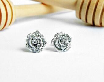 Rose earrings, Rose studs, silver earrings, summer earrings, minimalist earrings, gifts for girls, earrings for girls, gifts for her