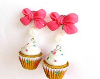 Confetti Cupcake Earrings with Bows, Bakeshop Collection, Kawaii Pink Cakes Earrings, Birthday Cake, Pinup Earrings, Rockabilly Jewelry