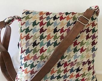 Messenger bag in dogtooth check ,across body bag ,smart bag , satchel bag