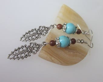 Filigree Earrings, Southwestern Earrings, Blue Turquoise Gemstone, Metal and Stone Drop, Silver Filigree Dangle