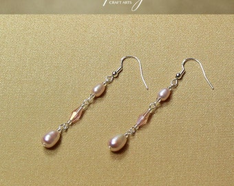 Genuine Freshwater Pearl earrings, Rose Lilac Pearl earrings, 925 Sterling Silver hooks, Bridal and bridesmaids earrings, InfinityCraftArts