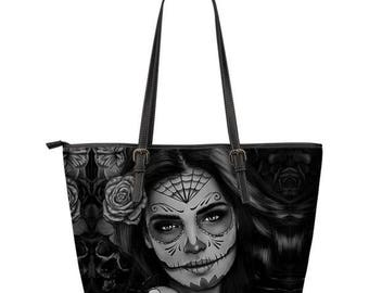 Calavera Sugar Skull PU Leather Tote Bag Design #2