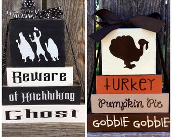 REVERSIBLE Halloween and Thanksgiving wood blocks--Beware of hitchhiking ghost reverses with Turkey, Pumpkin Pie, Gobble Gob