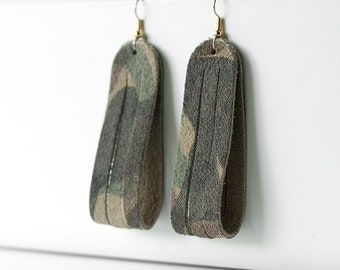 Leather Earrings / Sliced Leather / Camo