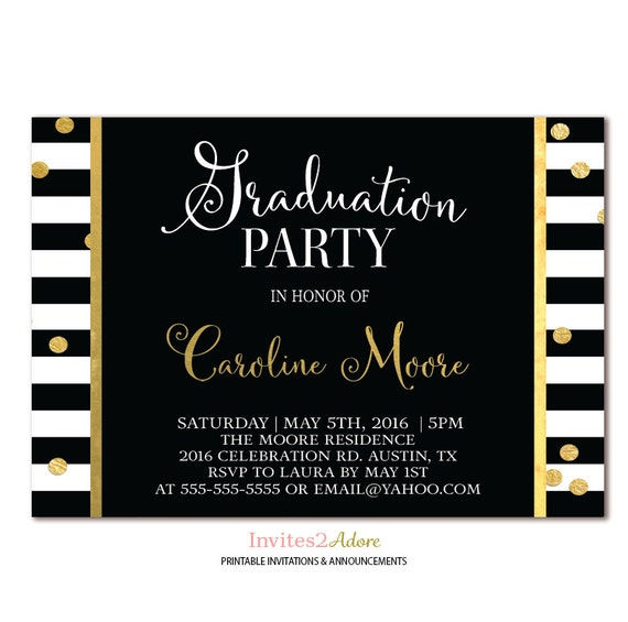 Black white stripe graduation party invitation black filmwisefo Choice Image