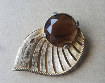Vintage Sphinx Smoky Quartz Modernist Leaf Brooch Gold Tone  November Birthstone