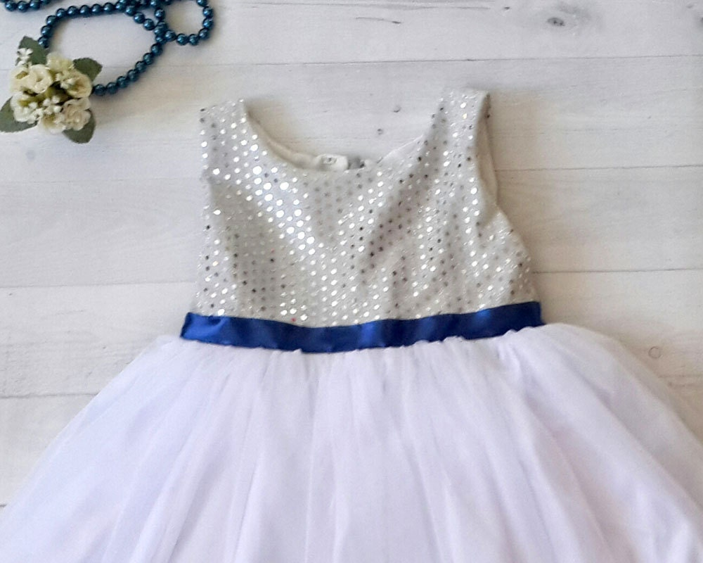 Silver and royal blue flower girls dress silver white zoom izmirmasajfo Image collections