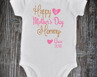 Happy First Mother's Day Onesie, Personalized First Mother's Day Baby Outfit, Mothers Day gift from Baby Girl, My First Mother's Day Baby