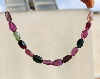 """Shades of Pink and Green Multi Watermelon Tourmaline  Natural Gemstone Smooth Free Form Oval Straight Drilled Beads 4"""" strand"""