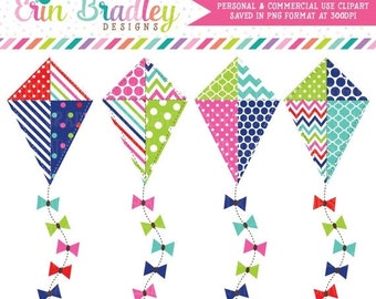 80% OFF SALE Kite Clipart Polka Dots Chevron & Striped Kite Clip Art Graphics in Red Blue Green and Pink