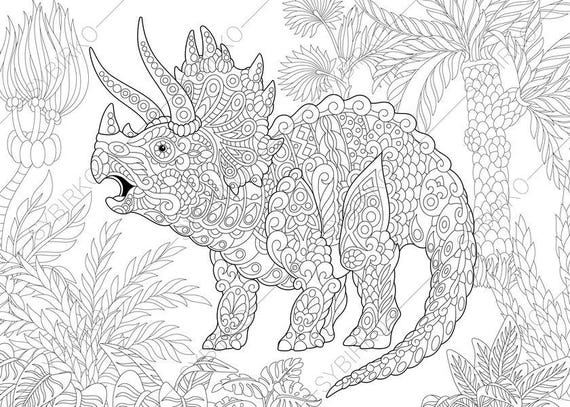 Triceratops Dinosaur. Dino Coloring Pages. Animal Coloring