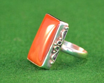 925 Silver and Red Jasper womans ring, size 9