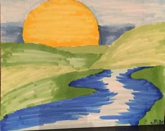 Sunset w/ river-marker on sketch paper