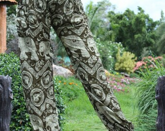 Harem Pants Hippie Clothing Boho Yoga Elephant Brown