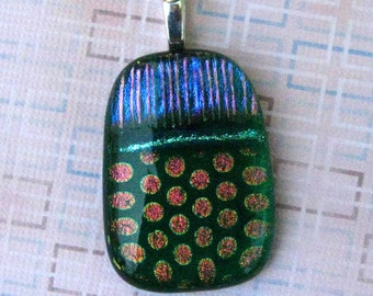 Green Glass Pendant, Dichroic Pendant, Fused Glass Jewelry, Summer Pendant, Watermelon Slide Dichroic Fused Glass Pendant