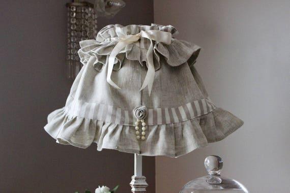 jupon d 39 abat jour pour lampe poser style shabby abat. Black Bedroom Furniture Sets. Home Design Ideas