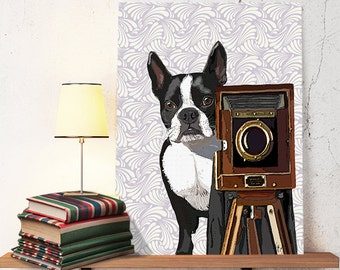 Boston Terrier Photographer Digital Print Dog Print
