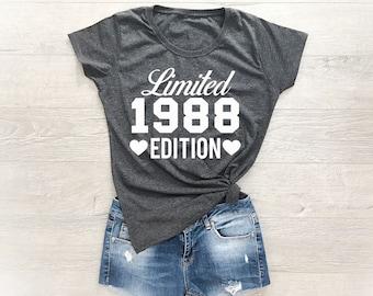 30th Birthday Shirt, 30th Birthday Tee, 30 Year Birthday T-Shirt, Birthday Gift 30th Birthday, 1988 Shirt, 1988 Birthday Shirt, Gift For Her