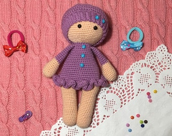 Crochet cute purple stuffed doll for girls Amigurumi small soft toddler toy Knitted first doll Custom knitted animal dolls