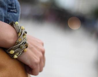 Pure Amber Bracelet Natural Linen Bracelet Baltic Amber Spring Fashion Summer Time