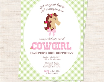 Cowgirl Party Invitation | Pink Cowgirl Invitation Printable | Girl Birthday | Gracie Lee Design