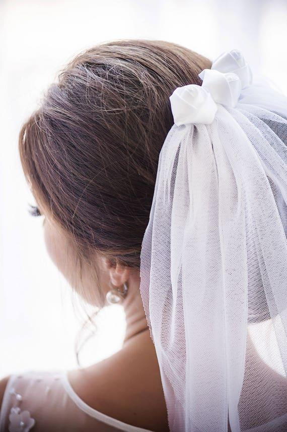 Short Length Veil, Wedding Veil, Bridal Veil, Two Tier Veil, Satin Roses Veil, Two Tier Bridal Veil, English Net Veil, Black, Ivory EVA